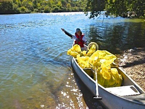 canoe with trash