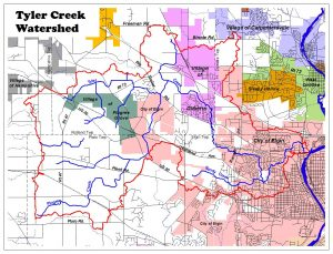 Tyler Creek watershed map