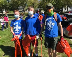 Troop 155 come out to clean the river during the pandemic